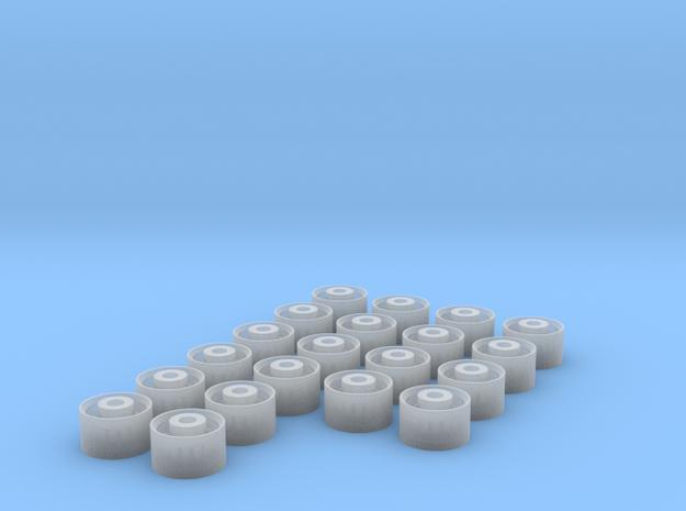 1/64 Trailer Wheels  x20 in Smooth Fine Detail Plastic