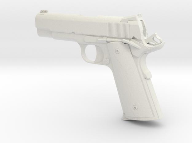 1:12 scale 1911 Pro Carry pistol in White Natural Versatile Plastic