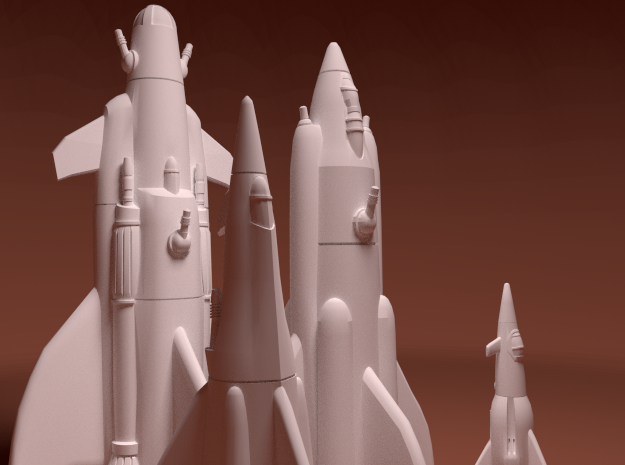 Martian War Rocket Fleet in White Natural Versatile Plastic