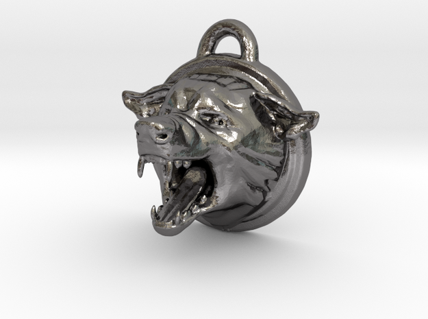 Wolf Pendant WolfPack in Polished Nickel Steel