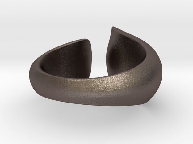 Tactile Bold Flame - Size 5 in Polished Bronzed Silver Steel