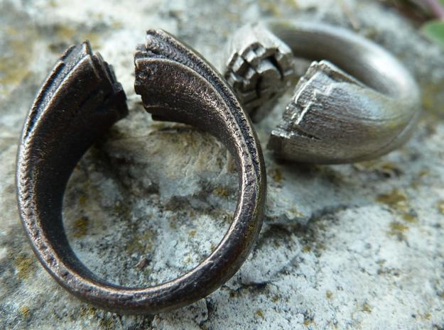 Cracking Wood ring - Size8 in Polished Bronze Steel
