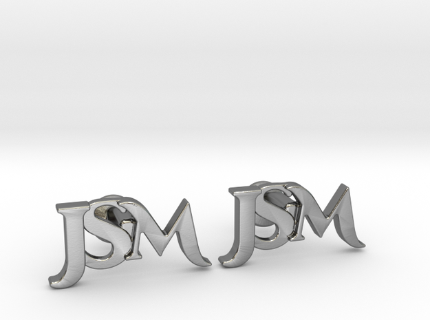 Monogram Cufflinks JSM in Polished Silver