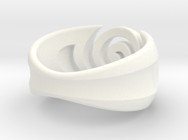 Spiral ring - Size 7 in White Processed Versatile Plastic