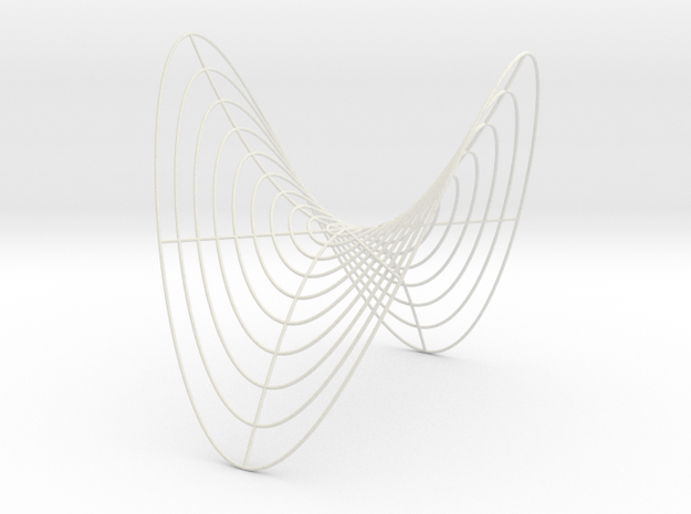 Saddle -- Cylindrical Curves (8 in) in White Natural Versatile Plastic