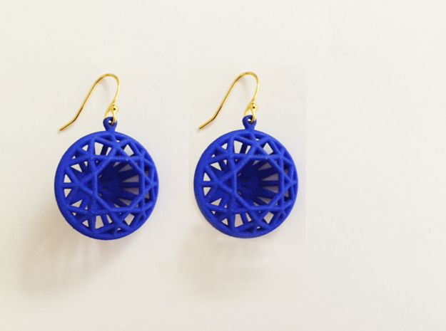 3D Printed Diamond Circle Cut Earrings in Blue Strong & Flexible Polished