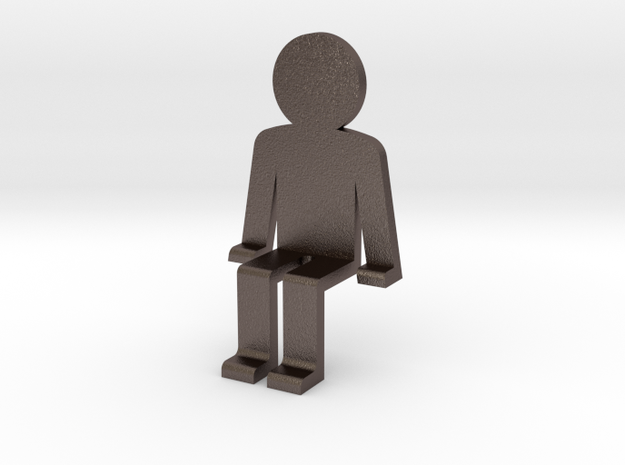 Person sitting in Polished Bronzed Silver Steel