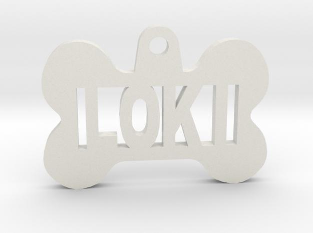 Bone Pet ID Tag - Loki in White Natural Versatile Plastic