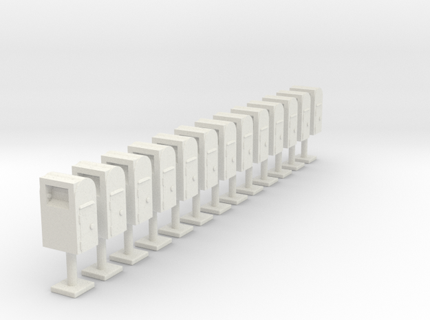 Postboxes Version 01 Scale HO in White Natural Versatile Plastic