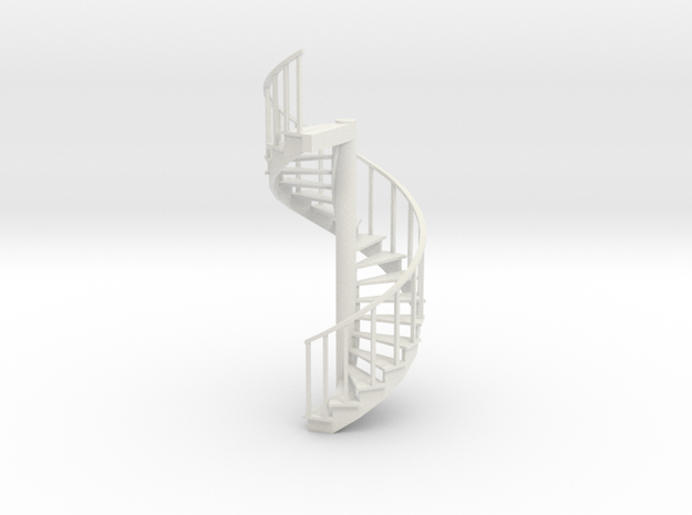12' Spiral Stair 1:48 Right Railing in White Natural Versatile Plastic