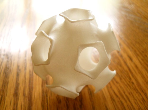 Icosahedral minimal surface 2 (solid, 2 in) in White Processed Versatile Plastic