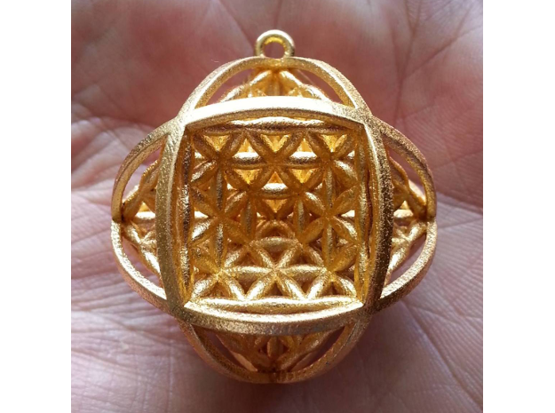 """Ball Of Life 1.5"""" Pendant  in Polished Gold Steel"""