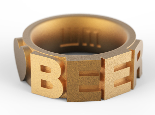 Love BEER Size 5.5 in Polished Gold Steel