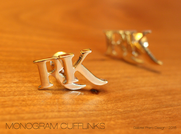 Monogram Cufflinks RK in 18k Gold Plated Brass