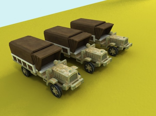 6mm WW1 light trucks (3) With tent 3d printed