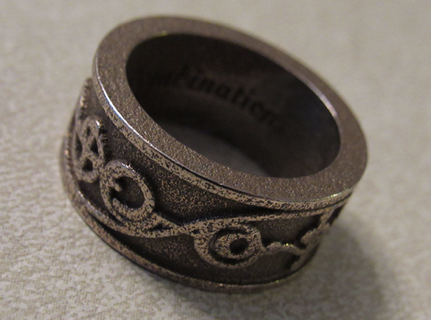 """IDIC"" Vulcan Script Ring - Embossed Style in Polished Bronzed Silver Steel: 8 / 56.75"