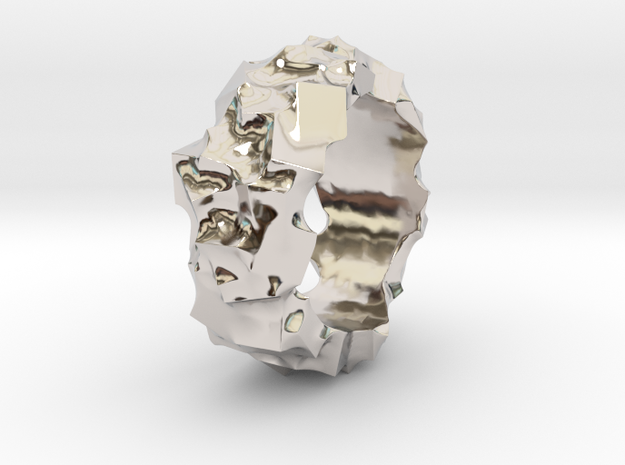 Ring of Cubes No.2 in Rhodium Plated Brass