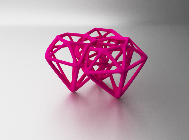 Skeleton Diamonds x3 Fused in Pink Processed Versatile Plastic