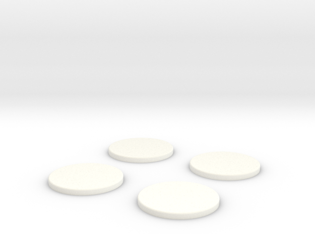 25mm Bases x4 in White Processed Versatile Plastic