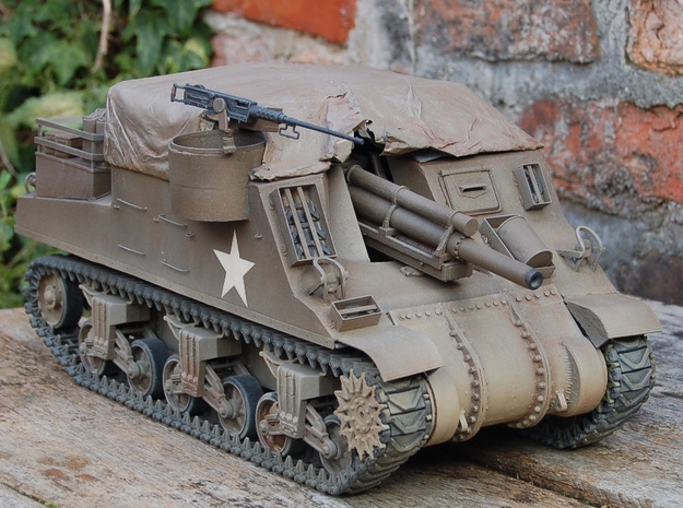 1/16 M4 Sherman 3 piece transmission cover.  in White Strong & Flexible