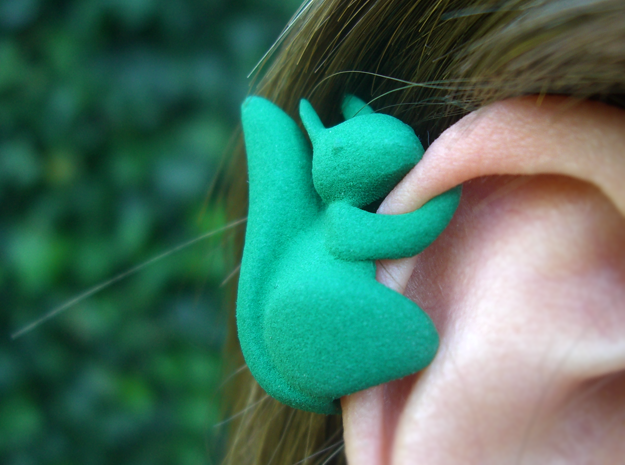 Ear Squirrel - ear cuff (right) in Green Processed Versatile Plastic