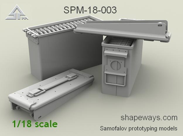 1/18 SPM-18-003 .30cal (7,62mm) ammobox opened in Smoothest Fine Detail Plastic