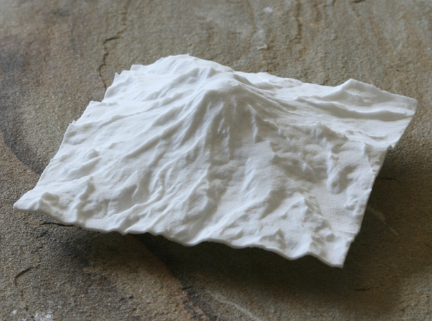 4'' Mt. Rainier Terrain Model, Washington, USA in White Natural Versatile Plastic