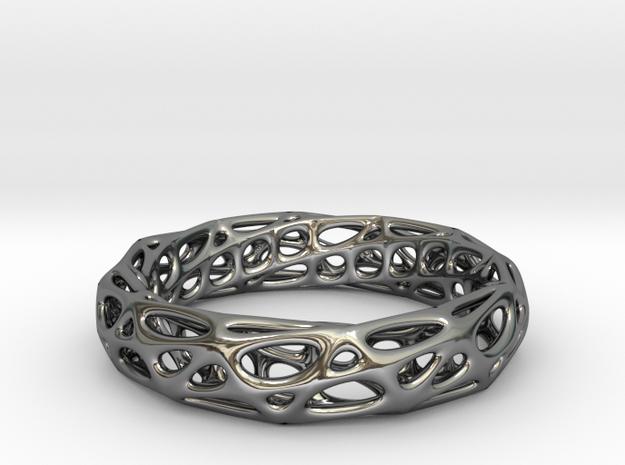 Mobius Band Voronoi Bracelet 65mm (002) in Premium Silver