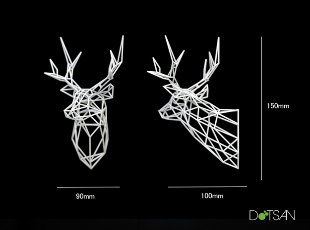 3D Printed Stag Deer 150mm Facing Right  in White Strong & Flexible