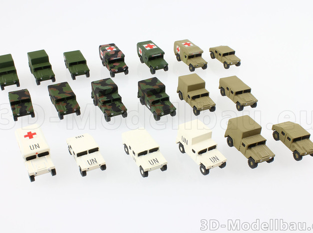 1/160 n-scale US Army M997 Humvee HMMWV Aircon in Smooth Fine Detail Plastic