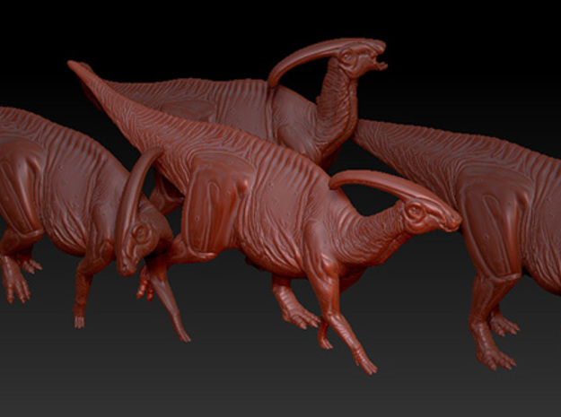 1/40 Parasaurolophus - Hooting 3d printed Example of several models from the Herd Set.
