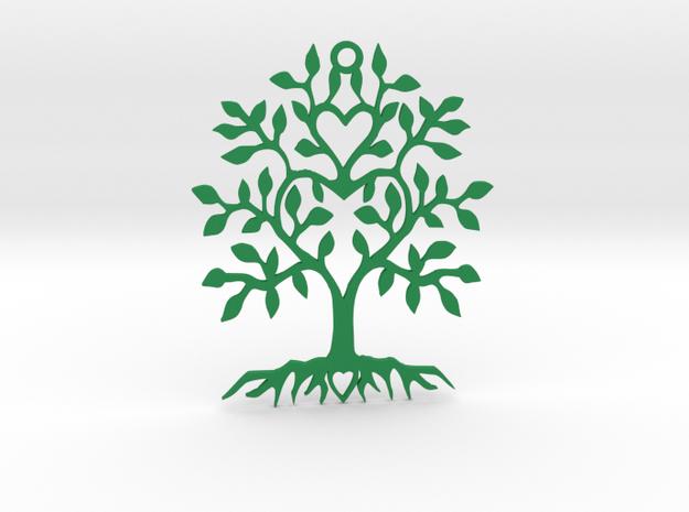 Tree Heart Pendant in Green Processed Versatile Plastic