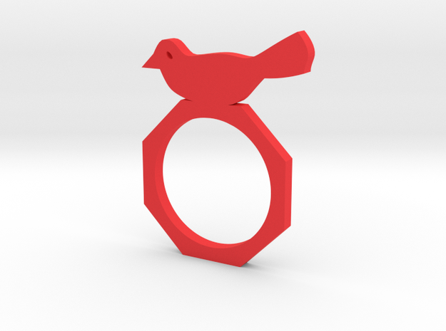 Sweet Bird Ring in Red Processed Versatile Plastic