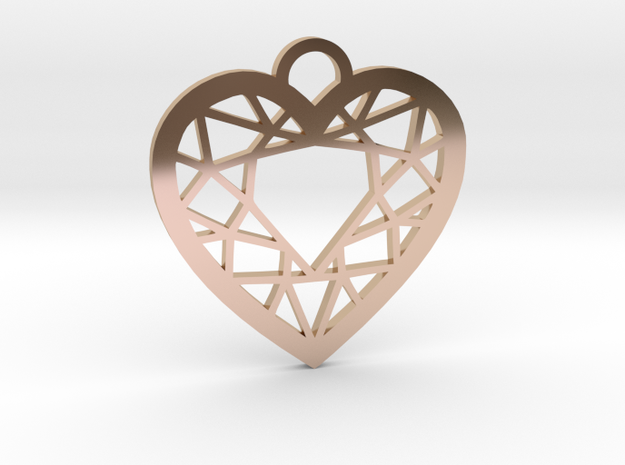 Diamond Heart Charm in 14k Rose Gold Plated Brass