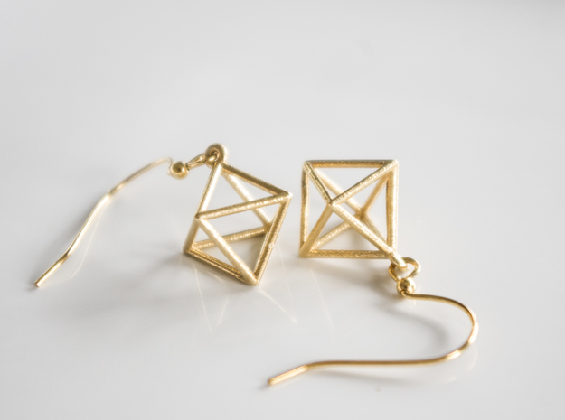 Octahedron Earrings in Polished Brass