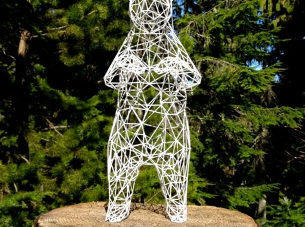 40cm Low Poly Bear Statue in White Natural Versatile Plastic