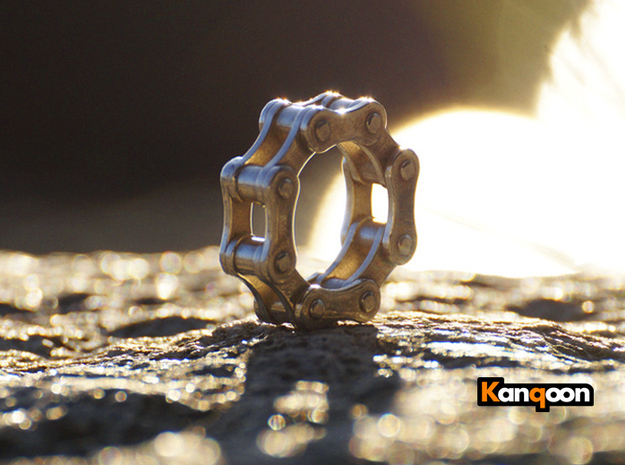 Violetta L - Bicycle Chain Ring - US 9 - 19 mm 3d printed Polished Silver printed