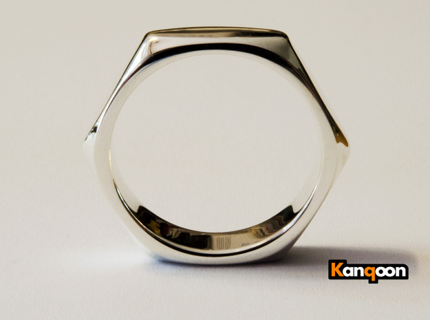 Barbara - Ring - US 9 - 19 mm inside diameter 3d printed Premium Silver printed