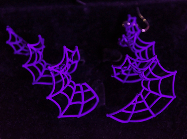 Spiral Spider Web Earrings in Purple Processed Versatile Plastic