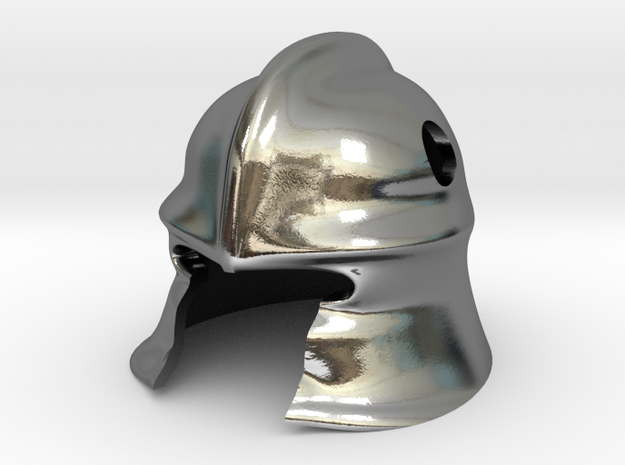 Knight Helm in Polished Silver