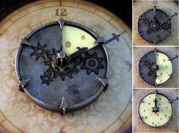 Cheese Wheel Clock (rotating) in White Strong & Flexible