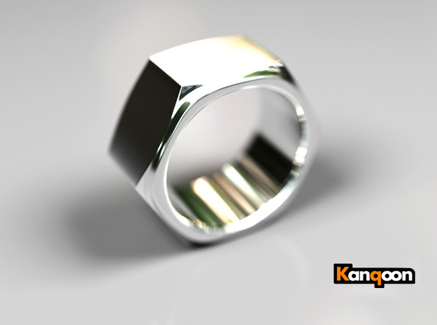 Aunt Barbara - Ring - US 9 - 19 mm inside diamete 3d printed Polished Silver PREVIEW