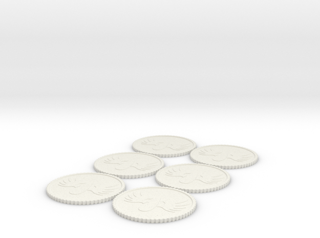 WInged Blood Drop Tokens (1-6) Roman Numerals in White Natural Versatile Plastic