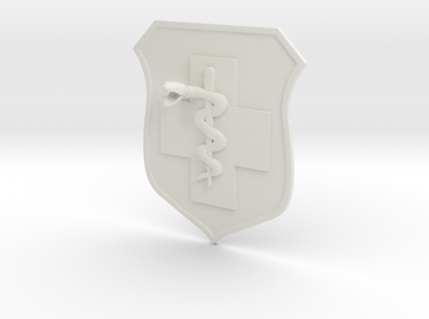 5x5.6 inch MEDIC BADGE in White Natural Versatile Plastic