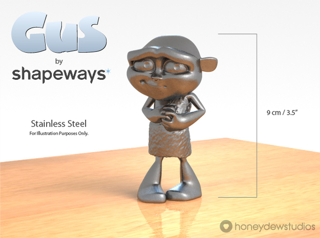 Gus Figurine - Medium - Metal 3d printed For illustration purposes only. Choose your material option from the drop-down menu on the right.