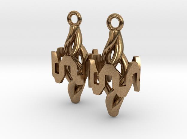 Resonator Earring Pair in Natural Brass