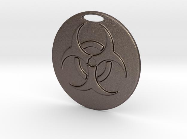 Pendant Bio Hazard Medallion 02 - MCDStudios in Polished Bronzed Silver Steel