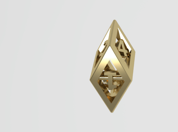 Crystal Dice Pendant in Polished Bronze Steel