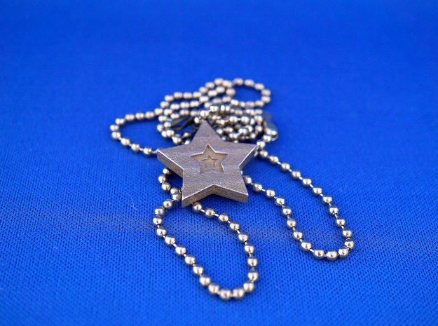 Star Charm (Precious metals)   in Polished Bronzed Silver Steel