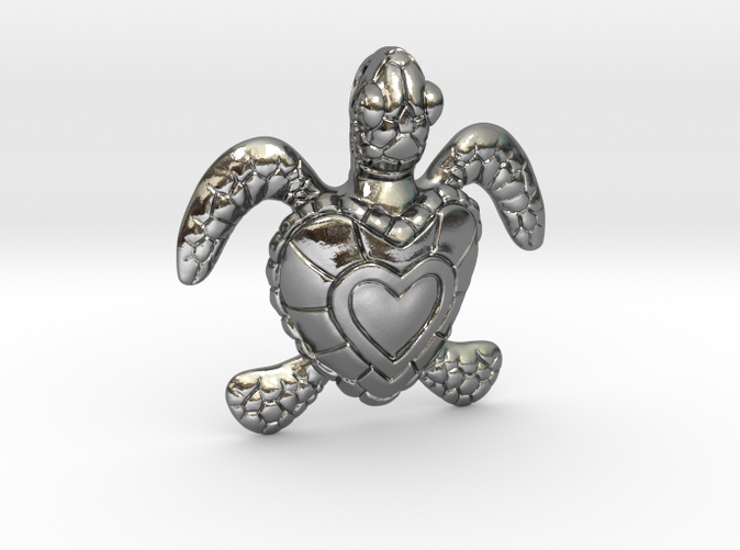 Baby Turtle Heart Pendant